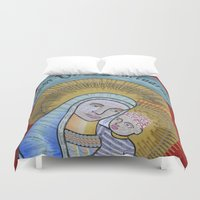 madonna Duvet Covers featuring IVF Madonna and Child by Eva May
