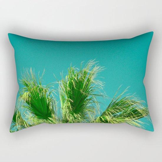 Palms on Turquoise Rectangular Pillow