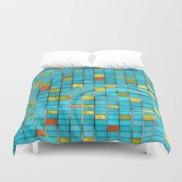 Block Aqua Blue and Yellow Art - Block Party 2 - Sharon Cummings Duvet Cover