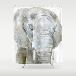 Elephant Watercolor Painting - African Animal Shower Curtain