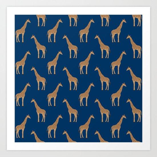 Giraffe african safari basic pattern print animal lover nursery dorm college home decor Art Print
