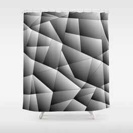 Exclusive strict gray pattern of chaotic black and white fragments of metal, glare and ice floes. Shower Curtain