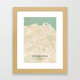 Edinburgh, United Kingdom - Vintage Map Framed Art Print