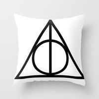 deathly hallows Throw Pillows featuring Deathly Hallows symbol by Vera