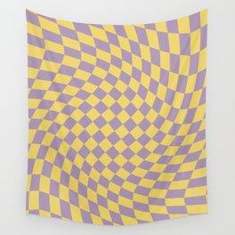 Purple and Yellow Checker Swirl Pattern Wall Tapestry