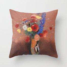 Odilon Redon Bouquet of Flowers 1912 Throw Pillow