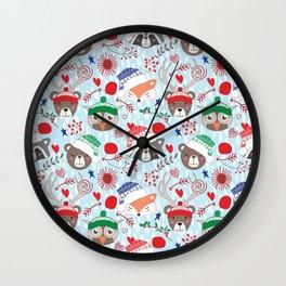 Christmas animal smiles Wall Clock