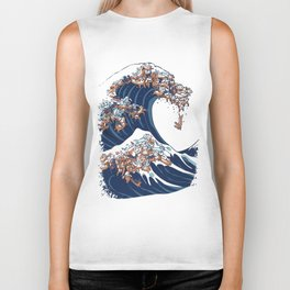 The Great Wave of Dachshunds Biker Tank