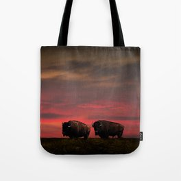 Two American Buffalo Bison at Sunset Tote Bag