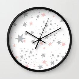 Stars silver and blush Wall Clock