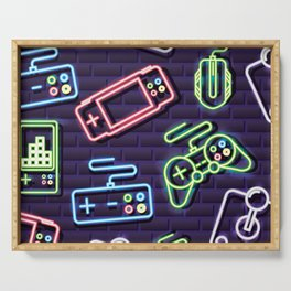 Neon Video Game Accessories Pattern Serving Tray