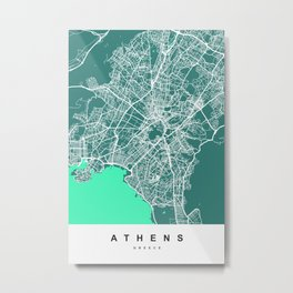 Athens - Greece Map | Green & Turquoise Colors Metal Print