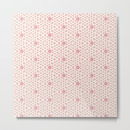 Coral Pink Mini Hexagon and Star Pattern Metal Print