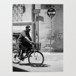Old man riding his bike in Old Nicosia, Cyprus Poster