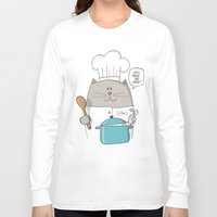 chef Long Sleeve T-shirts featuring Chef cat, chef hat, ZWD009S6 by ZeeWillDraw