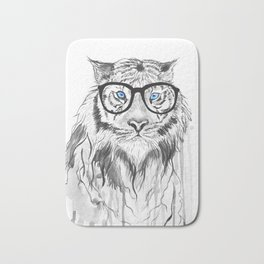 Tiger with glasses Bath Mat