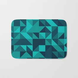 The bottom of the ocean - Random triangle pattern in shades of blue and turquoise  Bath Mat
