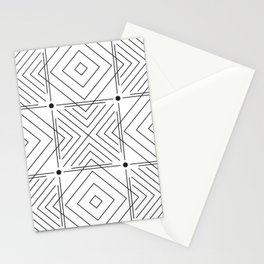 Geometric Black & White Triangles and Lines Stationery Cards