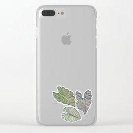 Botanical Splash, pink lake and leaves floating Clear iPhone Case