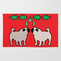 pugs Area & Throw Rugs featuring christmas pugs and kisses by Gray