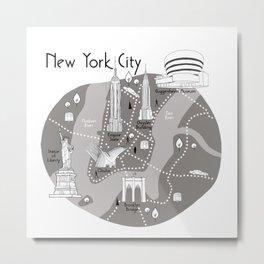 New York City Map - Grey Metal Print