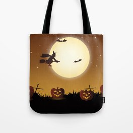 Halloween Scene Witch Tote Bag