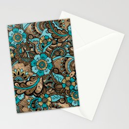 Floral Paisley Pattern - teal and golds Stationery Cards