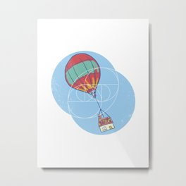 Geometric Art • Hot Air Balloon House Metal Print