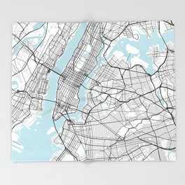 New York City Map of the United States - Circle Throw Blanket