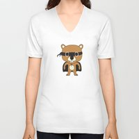 beaver V-neck T-shirts featuring Super Beaver by Ariseli Modica