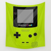 gameboy Wall Tapestries featuring Gameboy Color - Green by katy-makes-things