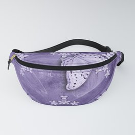 Flowers and butterfly with swirling fractal Fanny Pack