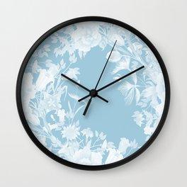 Stardust Crystal Blue Floral Motif Wall Clock