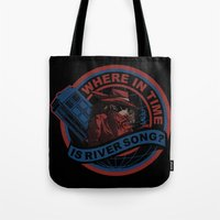 river song Tote Bags featuring Where In Time Is River Song by Kswaiy