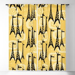 Mid Century Modern Giraffe Pattern Black and Yellow Blackout Curtain