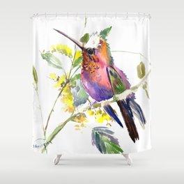 Hummingbird, beautiful decor colorful bird art Shower Curtain