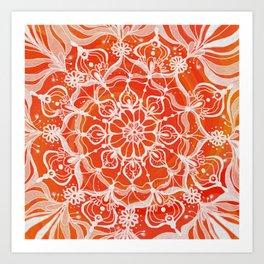 Red-orange mandala Art Print