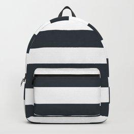 Gunmetal - solid color - white stripes pattern Backpack