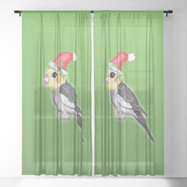 Christmas cockatiel Sheer Curtain