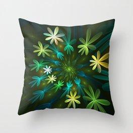 Fantasy Flowers, Fractal Art Throw Pillow