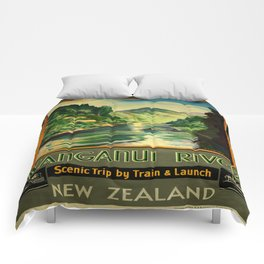 Vintage poster - Wanganui River Comforters
