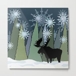 Moose in the Snow and Trees Metal Print