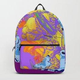BLUE MOTHS PURPLE GOLDEN FLORALS ABSTRACT Backpack