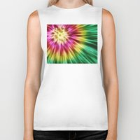 tie dye Biker Tanks featuring Abstract Green Tie Dye by Phil Perkins