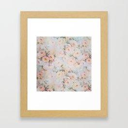 Vintage romantic blush pink ivory elegant rose floral Framed Art Print