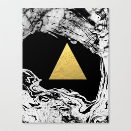 Davina - triangle modern minimal marble black and white foil gold abstract painting trendy bklyn  Canvas Print