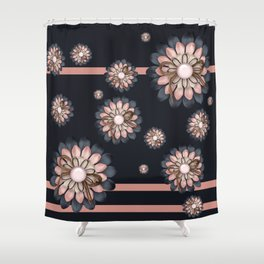Pink and grey flowers Shower Curtain