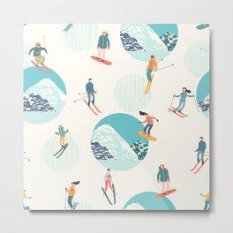 Ski pattern Metal Print