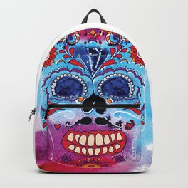 Watercolor Day of the dead sugar skull. Mexican skull illustration. Backpack