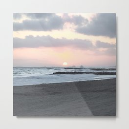 Beach Sunset Modern and Vintage Beach Aesthetic Photography of Newport Beach Colorful Pink Blue Sky Metal Print